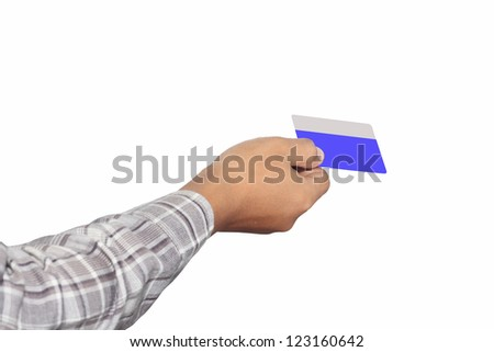 hand holding a card, isolated on white background
