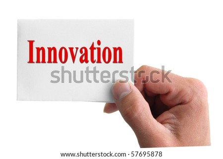 hand holding a card with the word innovation isolated on white background