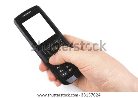 Hand holding a cell phone - white background.