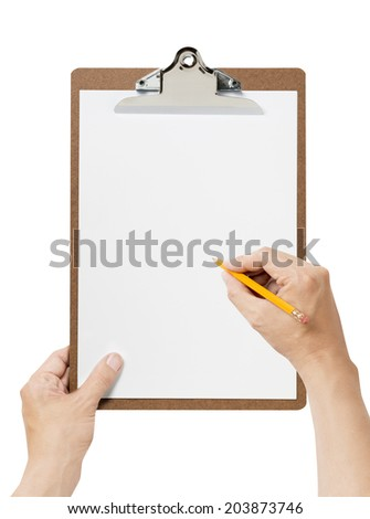 hand holding a Clipboard - stock photo