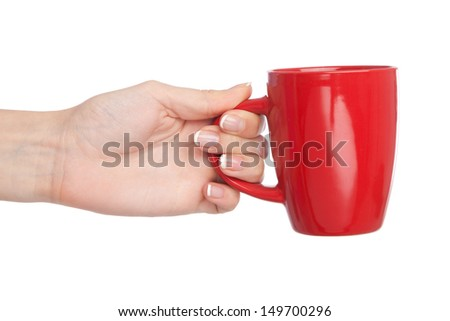 Hand holding a cup, isolated on white background