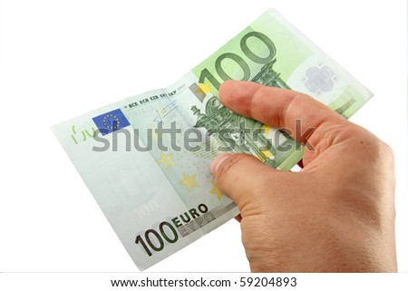 Hand holding a 100 euro bill; with clipping path