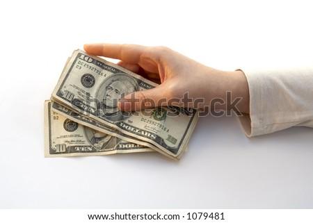 Hand Holding a Fan of ten dollars - stock photo