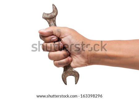 Hand holding a fracture spanner isolated on a white background with using path  - stock photo