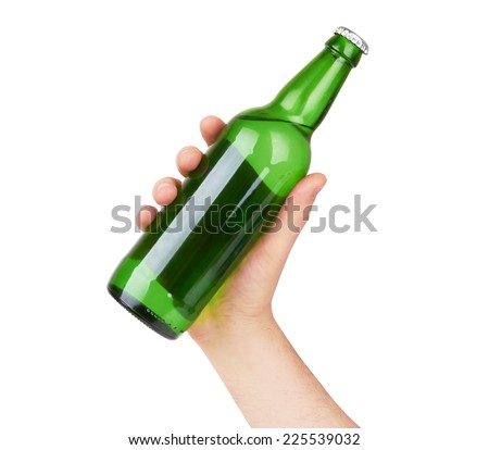hand holding a green beer bottle without label isolated on white background - stock photo