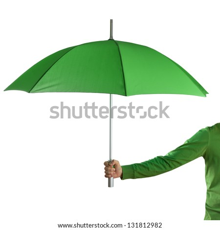 Hand holding a green umbrella isolated on white - stock photo