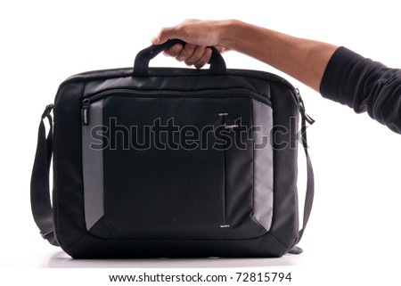 Hand Holding a Laptop Computer Bag