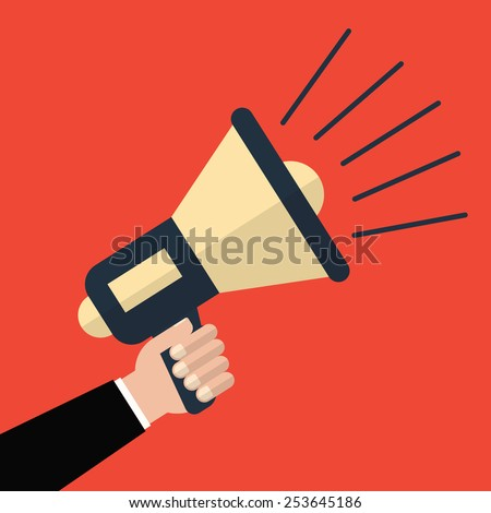 Hand holding a megaphone on a red background illustration a flat style - stock photo