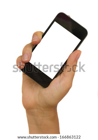 hand holding a modern smartphone isolated on white background with copy space