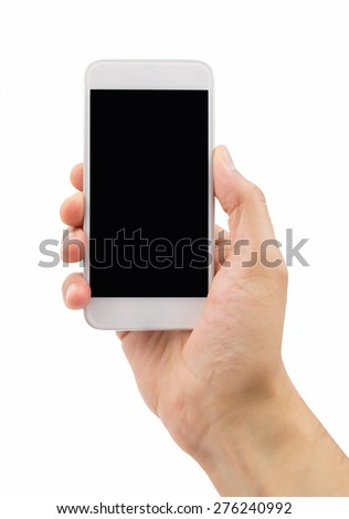 hand holding a modern smartphone with white background - stock photo