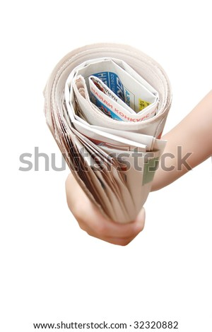 hand holding a newspaper isolated on white background - stock photo