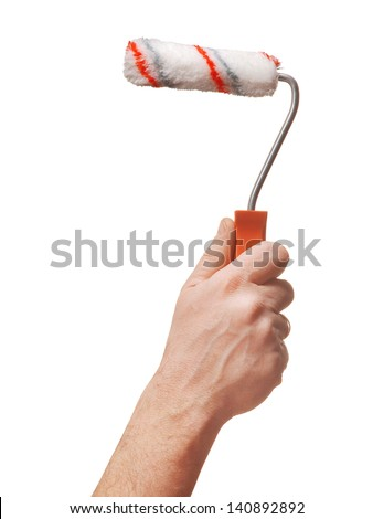 hand holding a painting brush isolated on withe background - stock photo