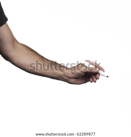 Hand holding a pencil of writing of red color on a white set - stock photo