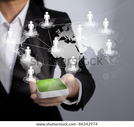 Hand  holding a phone show the social network - stock photo