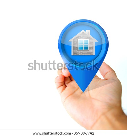 Hand holding a real estate pin pointer icon illustration isolated over white - stock photo
