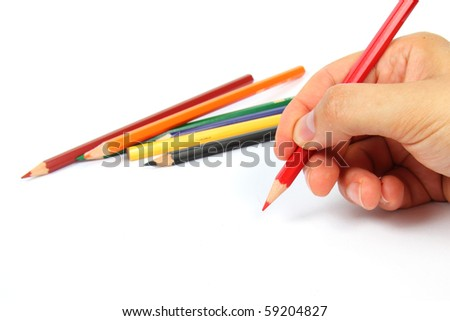 Hand holding a red pencil on white - stock photo