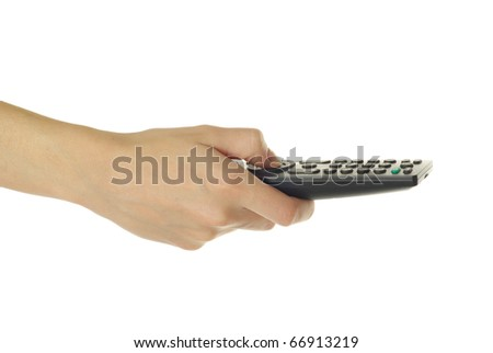 hand holding a remote control - stock photo