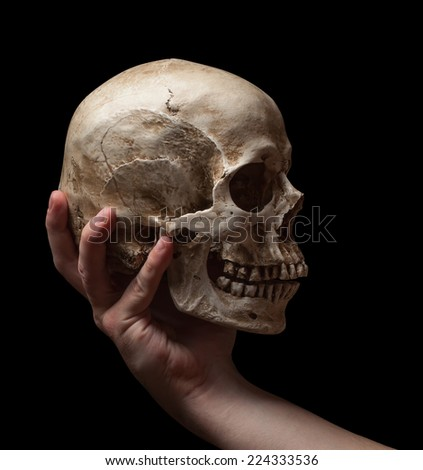 hand holding a skull is isolated on black background - stock photo