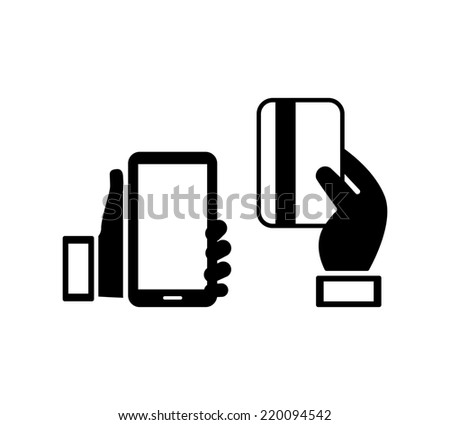 Hand holding a smart mobile phone next to a handheld credit card  concept of mobile banking  isolated on white - stock photo