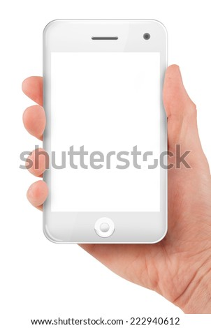 Hand holding a smart phone isolated on white - stock photo