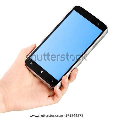 Hand holding a smartphone isolated on white - stock photo
