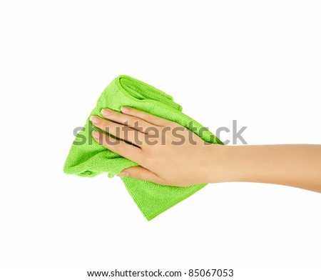 hand holding a sponge isolated on white background. Cleaning - stock photo