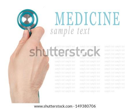 Hand holding a stethoscope isolated on white background (examining)  - stock photo