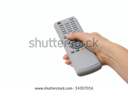 Hand holding a TV remote control isolated over white - stock photo