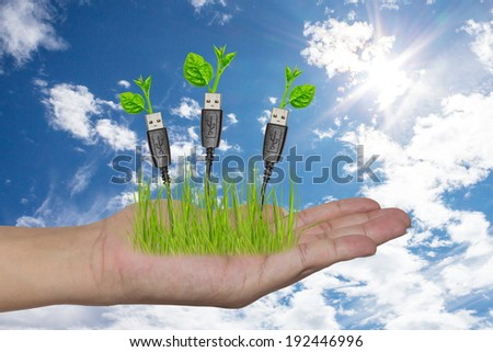 hand holding a usb cable with a small plant - stock photo