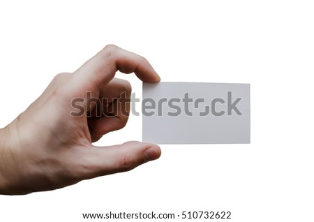 Hand holding a  white business card
