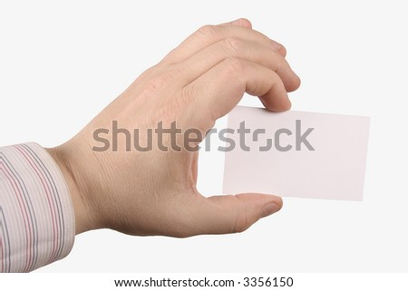 hand holding a white card where you can add text, isolated on white background - stock photo