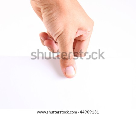 Hand holding a white paper. space to add your text or design - stock photo