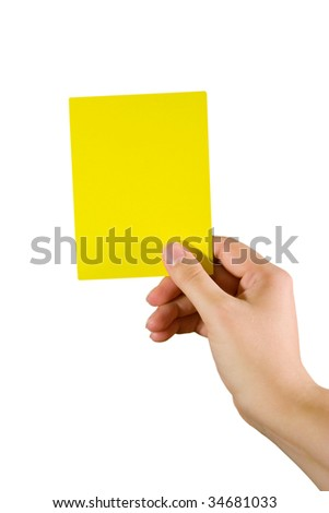 Hand holding a yellow card (isolated on white)