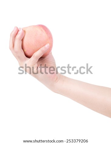 Hand holding an apple isolated on white background. - stock photo