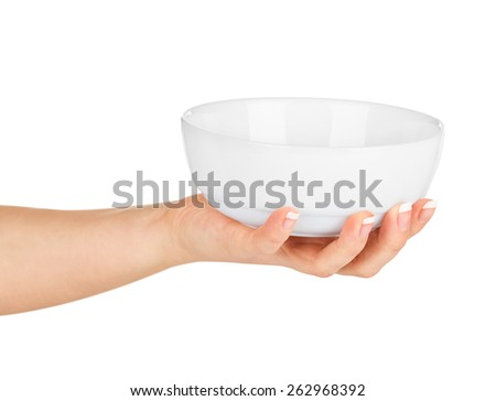 Hand holding an empty bowl on a white background - stock photo