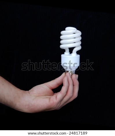 hand holding an energy-saving lamp