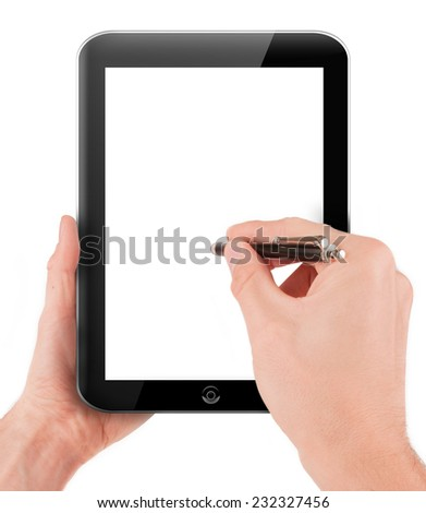 Hand holding and drawing on a tablet pc computer with blank screen isolated on white background