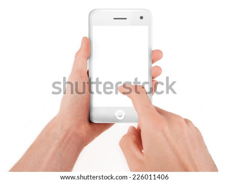 Hand holding and operating a smart phone isolated on white - stock photo