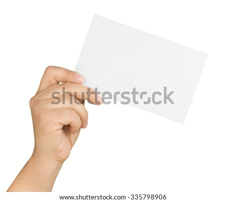 hand holding and showing tilted large white blank card isolated - stock photo