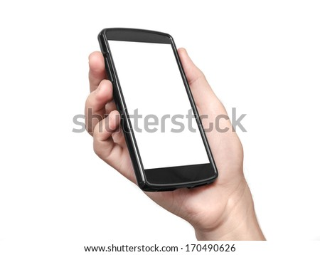 Hand holding and Touch on Black Smartphone with blank screen on white background. Clipping path included.  - stock photo
