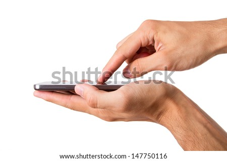 Hand holding and touching smart phone with blank screen, side view, isolated on white background. - stock photo