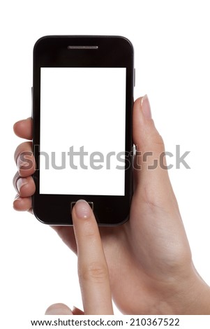 Hand holding and touching smartphone with copy space isolated on white background