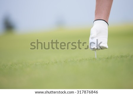 Hand holding ball and tee at golf course - stock photo