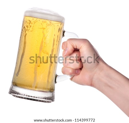 hand holding beer making a toast isolated on a white background - stock photo