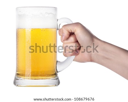 hand holding big glass of beer isolated.making toast on a white background.making toast - stock photo