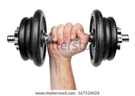 Hand holding black dumbbell isolated on white  - stock photo