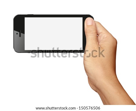 Hand holding Black Smartphone in horizontal on white background - stock photo