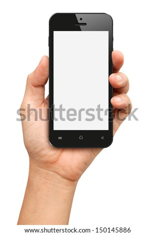 Hand holding Black Smartphone with blank screen on white background - stock photo