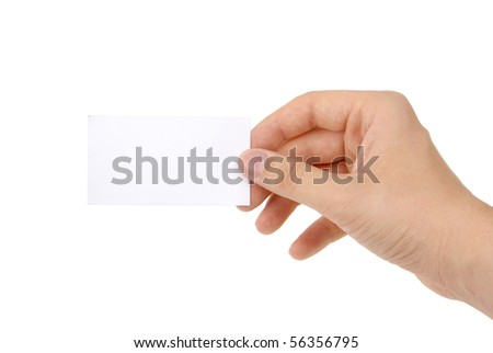 hand holding blank business card [ - stock photo