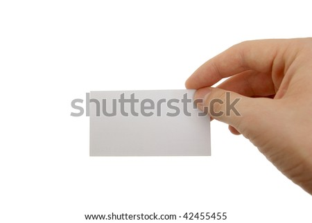 Hand holding blank business card with clipping paths - stock photo